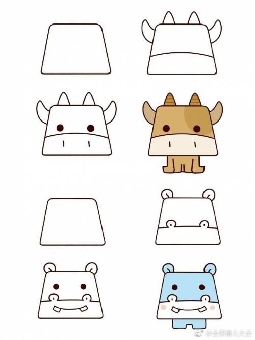 梯形小动物简笔画,又可爱又简单